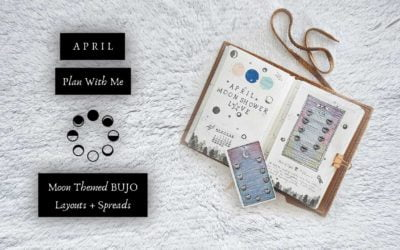 Night Sky Moon Stars & Trees Themed April Plan With Me   Moon Themed BUJO Layouts & Spreads