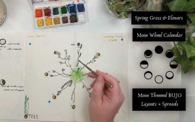 Spring Grass & Flowers Moon Wheel Calendar Bullet Journal Layout