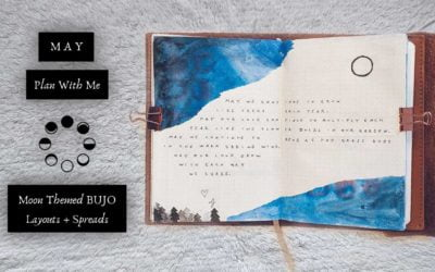 Watercolor Night Sky & Trees Theme May Plan With Me   Moon Themed BUJO Layouts & Spreads