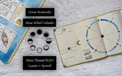 Ocean Watercolor Moon Wheel Calendar Bullet Journal Layout