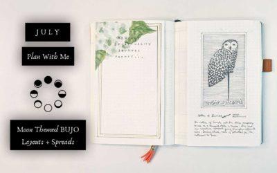 July Hydrangea Plan With Me   Moon Themed BUJO Layouts & Spreads