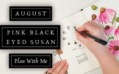 August Pink Black Eyed Susan Botanical Plan With Me   Moon Themed Bullet Journal Layouts & Spreads