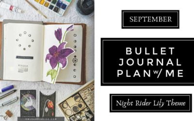 September Night Rider Lily Botanical Theme Plan With Me   Moon Themed Bullet Journal Layout & Spread