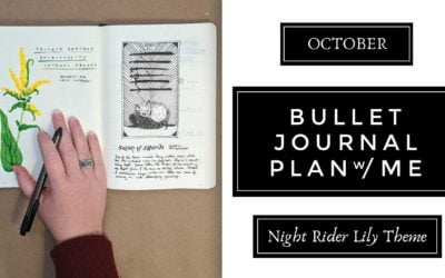 October Fox & Goldenrod Botanical Theme Plan With Me   Moon Themed Bullet Journal Layout & Spread