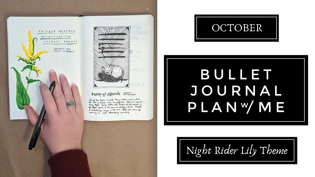 October Fox & Goldenrod Botanical Theme Plan With Me | Moon Themed Bullet Journal Layout & Spread